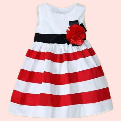Toddler Infant Kids Baby Girl Sleeveless Wide Stripe Dress Flower Casual Clothes
