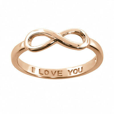 Sterling Silver 14k Rose Pink Gold I Love You Infinity Ring All Sizes Available