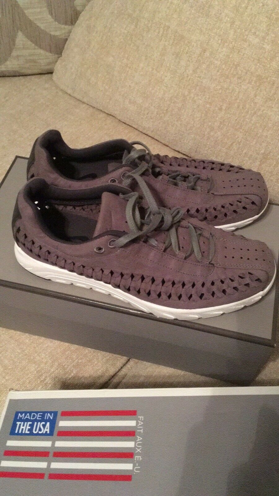 MENS NIKE MAYFLY WOVEN GREY FAUX SUEDE WEAVE FITNESS SPORTS GYM TRAINERS SIZE 7