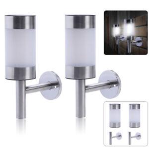 Acier-Inoxydable-2x-Energie-Solaire-Lumiere-DEL-Wall-Light-Fence-Lampe-Jardin-Exterieur