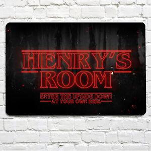 Personalised Neon Red Kids Room Door Sign A4 Metal Sign Ebay
