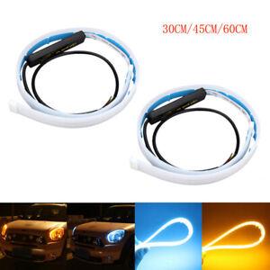2x-60-45-30cm-Switchback-LED-Streifen-DRL-Tagfahrlicht-Lichtleiste-Leuchte-Lampe