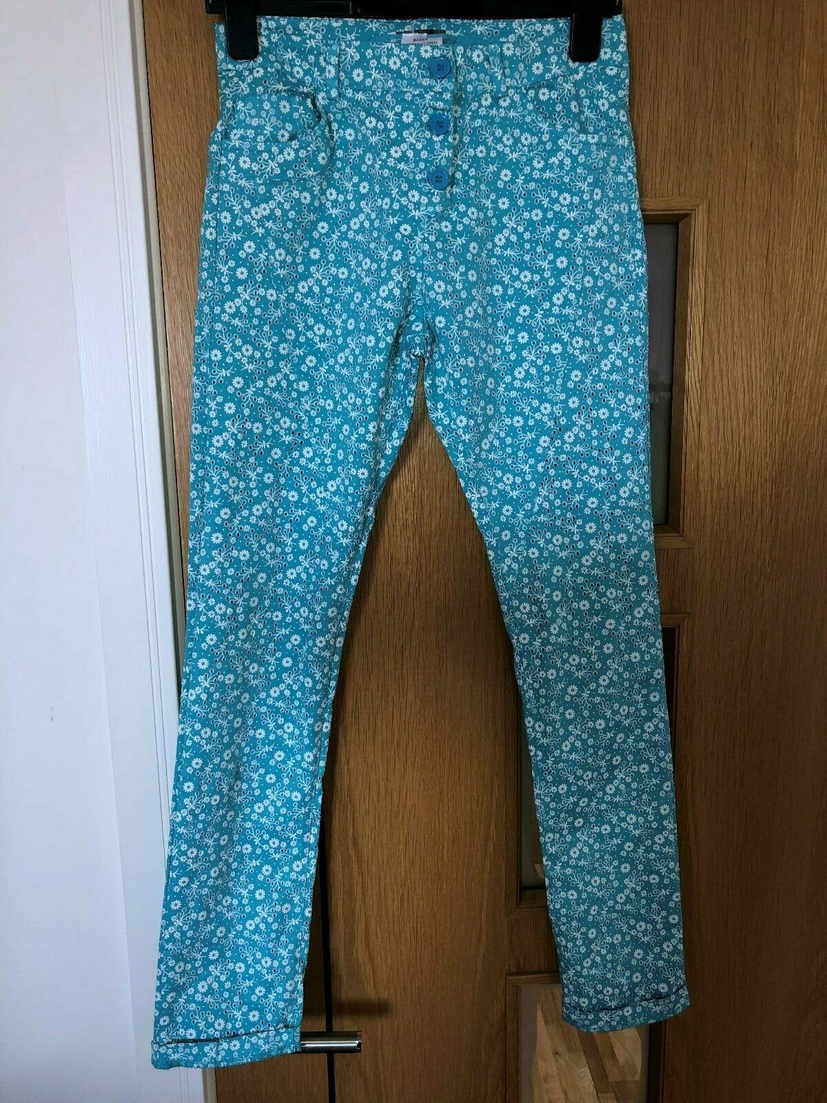 Angela Mele Milano Italian Turquoise and White Floral Stretch Jeans Trousers