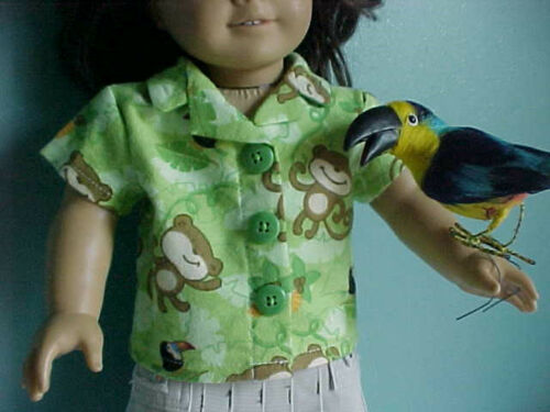 Green Flannel MONKEY SHIRT BLOUSE features Toucans /& Palms fits American Girl