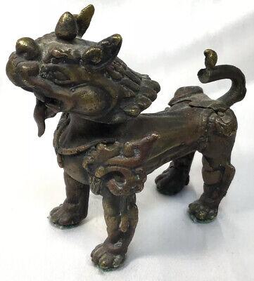 Figurine statuette lion Singh Singha gardien temple collection bronze