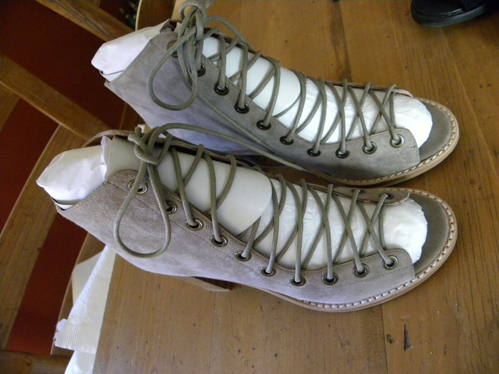 """JEFFREY CAMPBELL FOR FREE PEOPLE TAUPE  SUEDE LACE UP SANDAL SIZE 6-1 2  3"""" HEEL"""