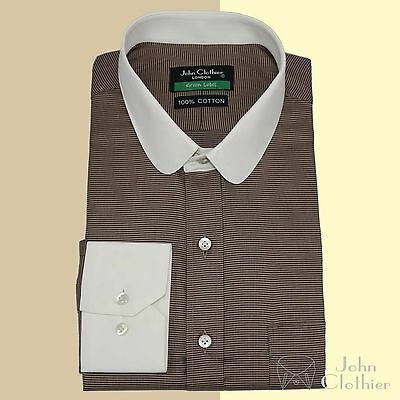 Mens Penny collar shirt Cotton Blue Round Oxford Banker Club Peaky Blinder Gents