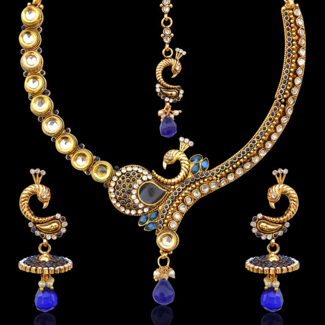 Coloured stones peacock on a branch kundan pearl Indian ethnic necklace set v331
