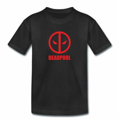 Childrens Boys Girls Kids DEADPOOL TShirt Dead Pool Marvel Mask Top