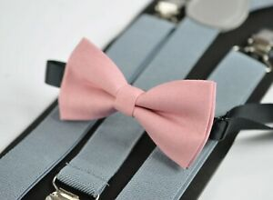 Dusky-Dusty-Rose-Blush-Pink-Bow-tie-Light-Grey-Gray-Elastic-Suspenders-Braces