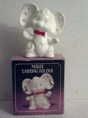Vintage Mouse Earring and Ring Holder Figurine By Brinn's with box