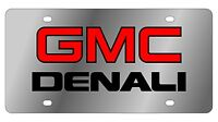 Gmc Denali Red Logo Stainless Steel License Plate