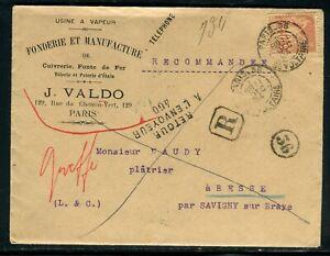 Enveloppe Commerciale En Recommandé De Paris ( Avec Contenu Non Ouvert) En 1894