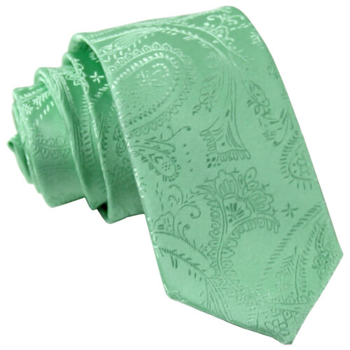 "New Men/'s Polyester Woven 2.5/"" skinny necktie only paisley aqua green formal"