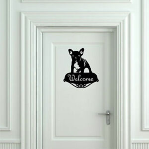 Sticker-Vinilo-French-Bulldog-Welcome-Wall-Art-Decall-Vinyl-Aufkleber