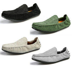 New-Suede-Leather-Moccasins-Slip-On-Men-Driving-Loafers-Penny-Shoes-Boat-Shoes