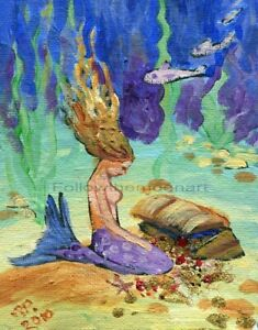 Ocean-Fish-Purple-Golden-Hair-Mermaid-Treasure-Chest-Sea-Art-Print