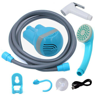 Bathroom Portable Handheld USB Charging Shower Head with 2Nozzles Brushed Z6O7