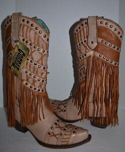 38bf7a38adf Details about Corral Women's Studded Fringe LAYERED WESTERN 9 M Cowgirl  Boot Snip Toe C2988
