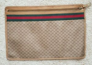 b5b61e70 Details about Unisex Large Vintage Gucci Portfolio Case Document Holder