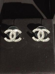 La Foto Se Está Cargando Seminuevo Chanel Autentica Penntes Cristal Cc Tachuelas