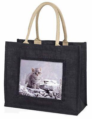 Silber Tabby Katze im Schnee große schwarze Einkaufstasche Weihnachtsgeschenk