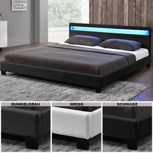 Polsterbett-LED-Doppelbett-Lederbett-Bettgestell-Lattenrost-Kunstlederbett-Neu