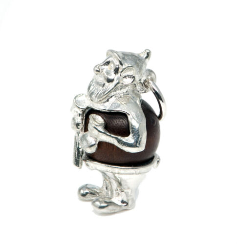 STERLING SILVER LUCKY TOUCH WUD WOOD GNOME CHARM