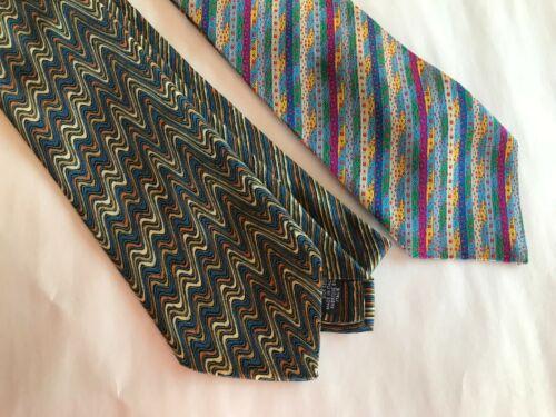 2 Missoni Italian Neck Ties Stripes Textured Pre-O