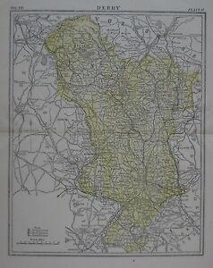 Original 1890 Shire Map Derby England Chatsworth Sheffield Midland