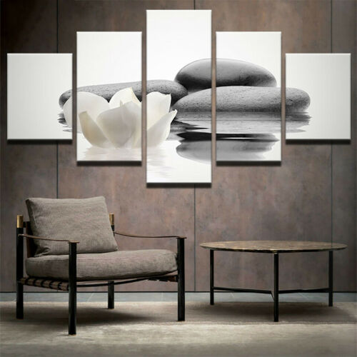 Wall Art Pictures Canvas Framework 5 Panel Stone White Flower Water Home Decor
