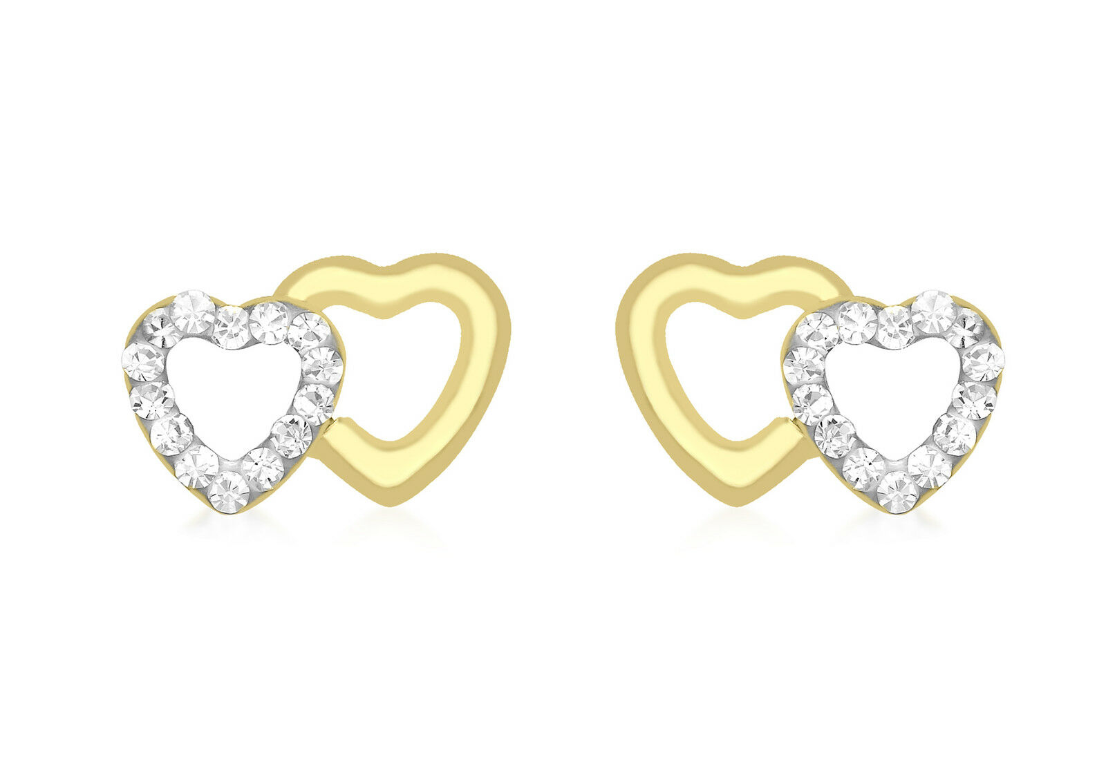 9ct Yellow gold Double Heart Plain CZ Stud Earrings Jewellery With Gift Box