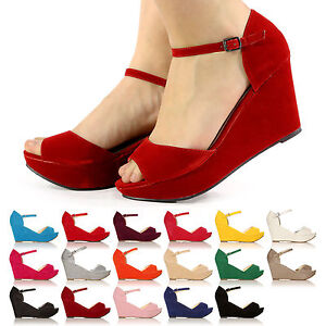 LADIES-WOMEN-NEW-PLATFORM-WEDGES-ANKLE-STRAP-SANDALS-SIZE-3-8