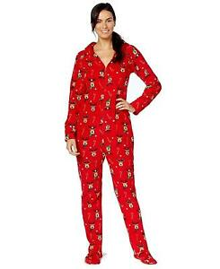 Christmas Footie Pajamas For Kids.Family Pjs Kids Unisex Reindeer Red Christmas Holiday Footed Pajamas Sz 8