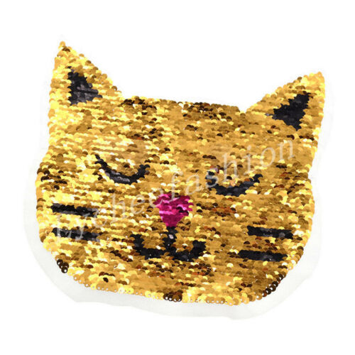 Cat Reversible Change Color Sequins Patch  DIY Sew On Patch For Clothes Applique