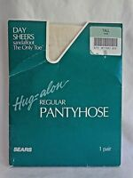 Sears Hug-alon Pantyhose Size Tall Ivory White Day Sheers Sandalfoot