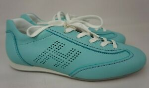 Hogan Women's Shoes Blue Leather Olympia Sneakers Size 35.5 | eBay