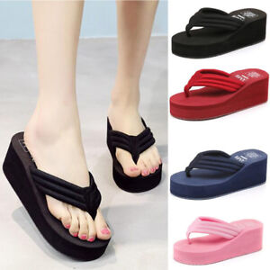 Open Toe Breathable Beach Casual Shoes Womens Platform Wedge Flip Flop Thong Sandal