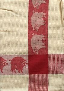 Exceptionnel Image Is Loading Pig Kitchen Towel Cotton Waffle Weave Red Ivory
