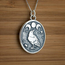 Handcast 925 Sterling Silver Raven and Triple Moon Pendant FREE Cable Chain