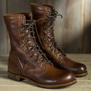 New Men Vintage Military Boots High top