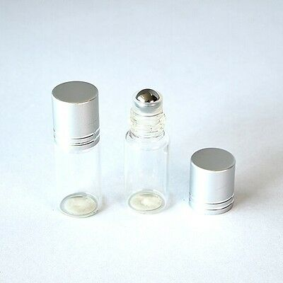 6pcs Empty mini roll on 3ml glass bottle with metal roll ball for essential oil