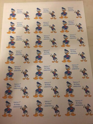 21 Donald Duck Party Bag Stickers//favour Labels