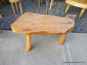 Cypress-Handmade-Slab-Coffee-Table-Log-Rustic-Chilean-Free-International-Shi