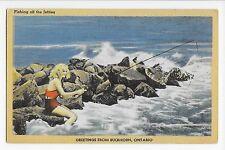 Vintage Postcard Buckhorn Ontario Fishing off the Jetties Linen