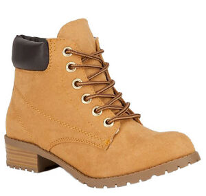 Soda Women Ankle Work Boots Beige Tan Suede Lace Up Combat Army ...