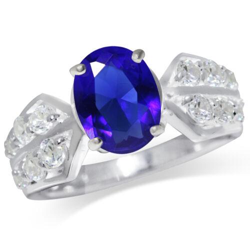 Saphir Bleu /& Blanc Zircone cubique Argent Sterling 925 Classique Anneau