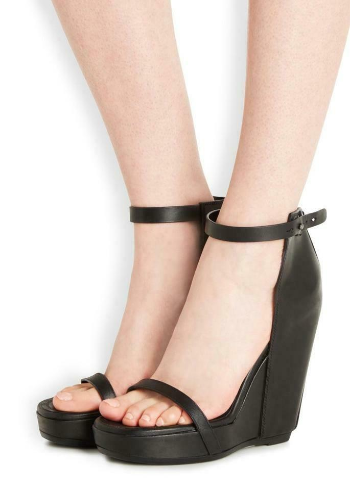 Rick Owens New  1,385 Wedge Ankle Strap Brown Leather Sandals (Size  36EU)