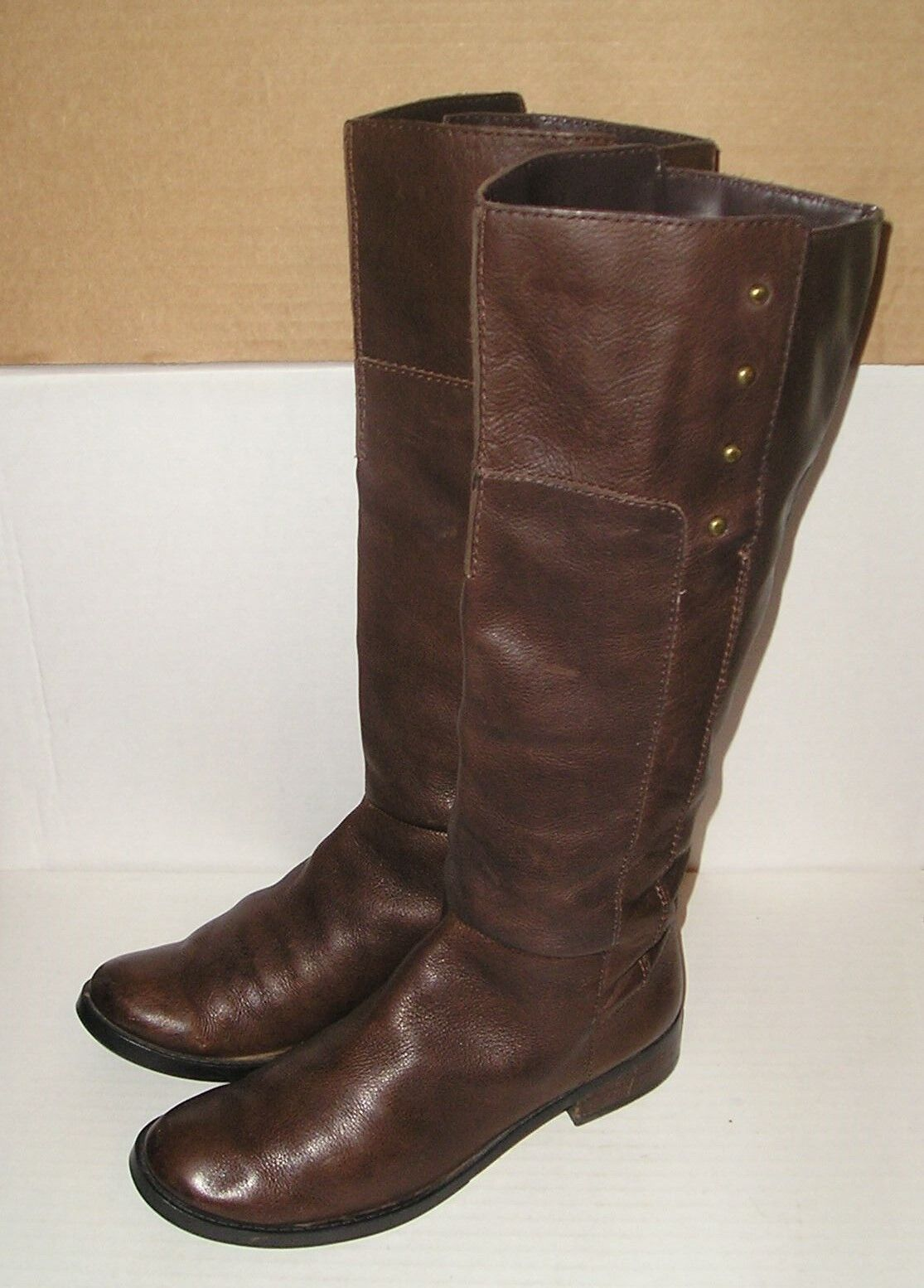 NINE WEST Women's  Toreador  Brown Leather Tall Pull-On Riding Boots Size 6 M US