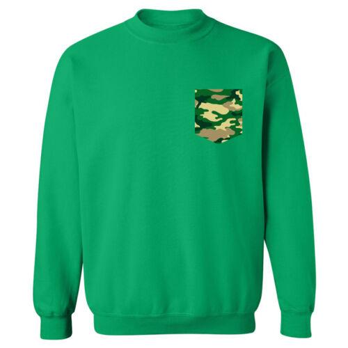 Green Camo Camouflage Army Pocket Shaped Print Unisex Sweater Sweatshirt Jumper